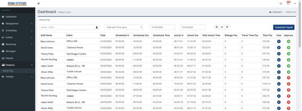 Payroll Preparation Checking Screen